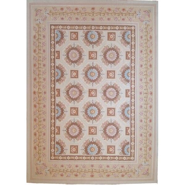One-of-a-Kind Aubusson Hand-Knotted Beige 10'4 x 14'4 Wool Area Rug