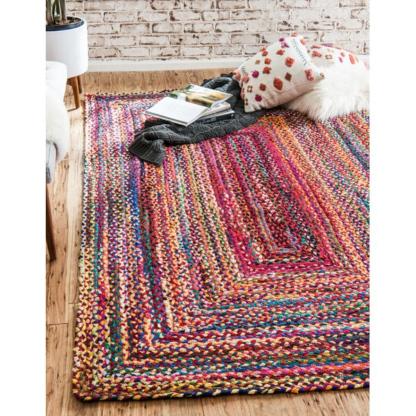 Partee Hand-Braided Red Area Rug by August Grove