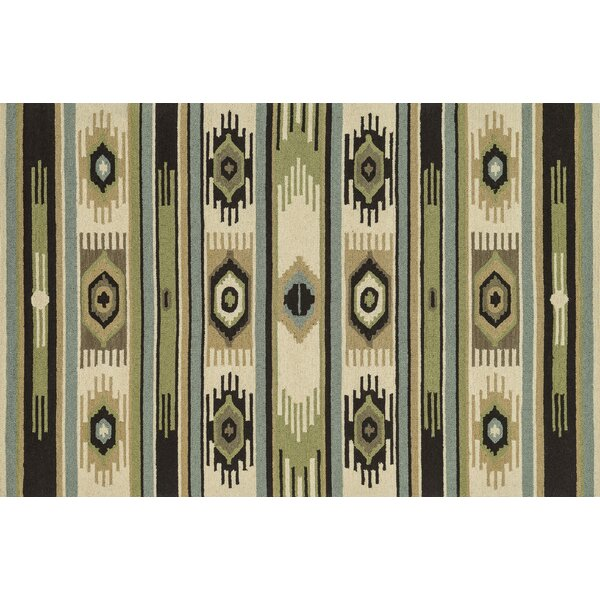 Taos Hand-Hooked Green/Ivory Area Rug by Loloi Rugs