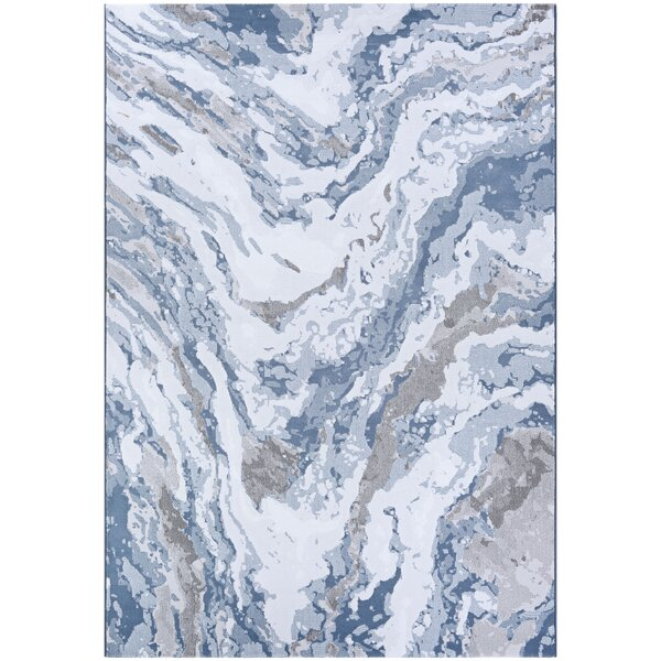 Driggers Abstract Marble Gray/Blue Area Rug by Williston Forge