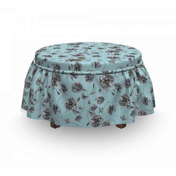Free S&H Monochrome Wildflowers Ottoman Slipcover (Set Of 2)