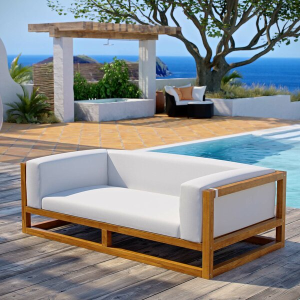 Ringler Premium Grade A Teak Patio Sofa with Cushions by Highland Dunes Highland Dunes