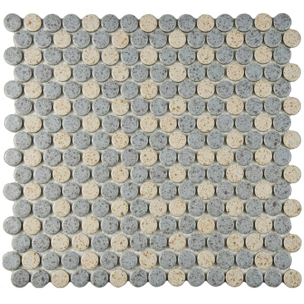Penny 0.8 x 0.8 Porcelain Mosaic Tile in Gray/Cream by EliteTile