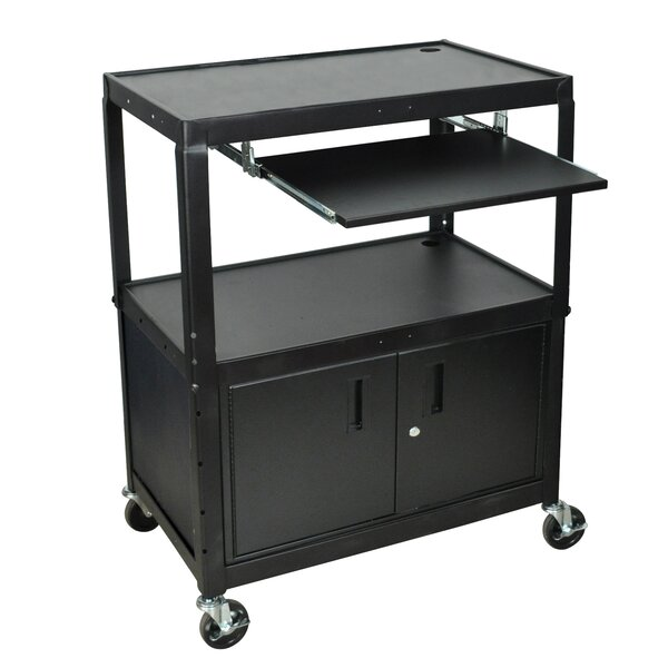Extra Wide AV Cart with Cabinet and Keyboard Tray by Luxor
