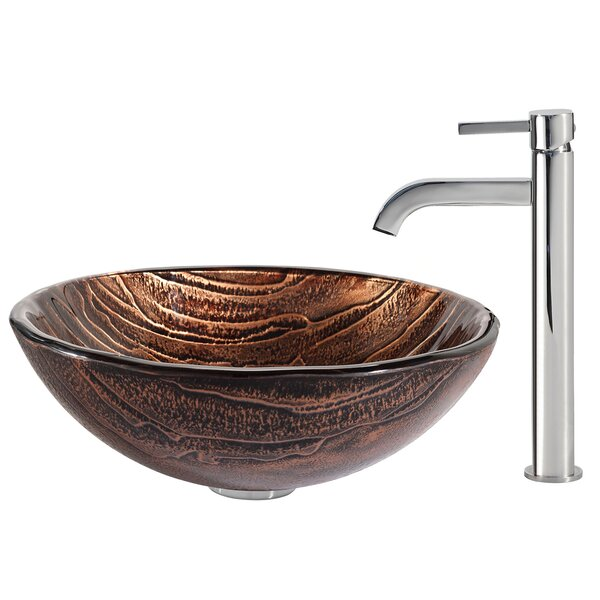 Gaia Glass Circular Vessel Bathroom Sink with Faucet