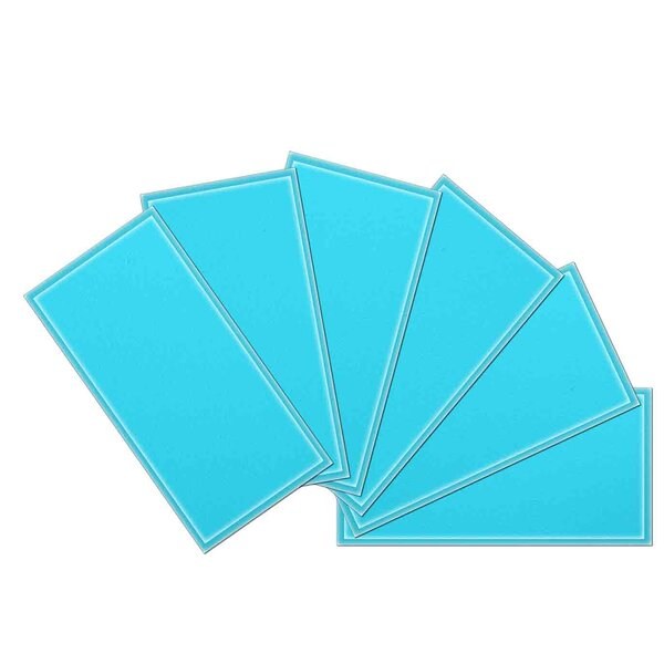 Crystal 3 x 6 Beveled Glass Subway Tile in Sky Blue by Upscale Designs by EMA
