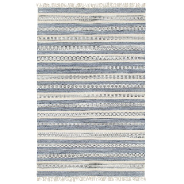 Modern Striped Handwoven Wool Beige/Navy Area Rug by Birch Lane™