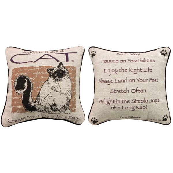 Advice from a Cat Throw Pillow by Manual Woodworkers & Weavers