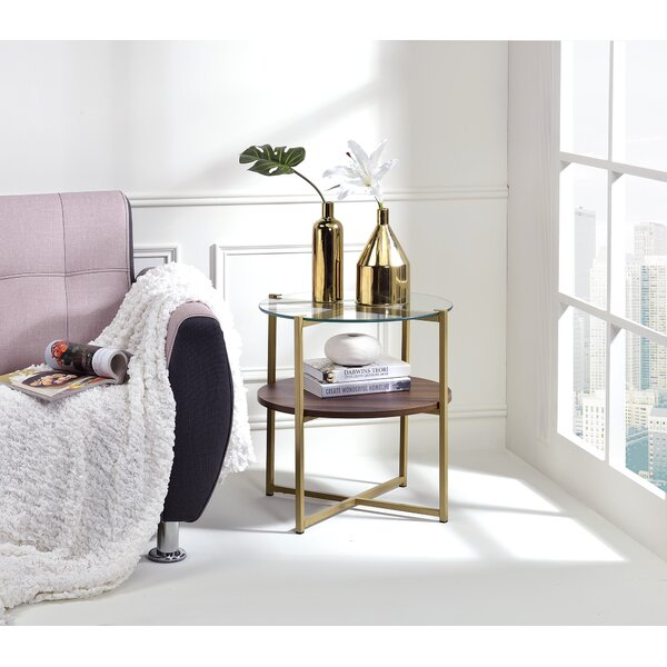 Maus Glass Top 3 Legs End Table with Storage by Ivy Bronx Ivy Bronx