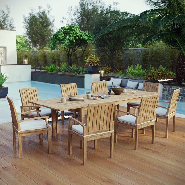 Constance Outdoor Patio 9 Piece Teak Dining Set with Cushions by Rosecliff Heights