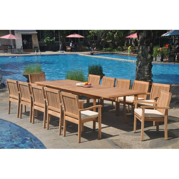 Darrion 13 Piece Teak Dining Set by Rosecliff Heights
