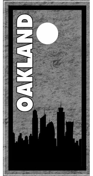 Oakland Skyline Cornhole Board by Lightning Cornhole