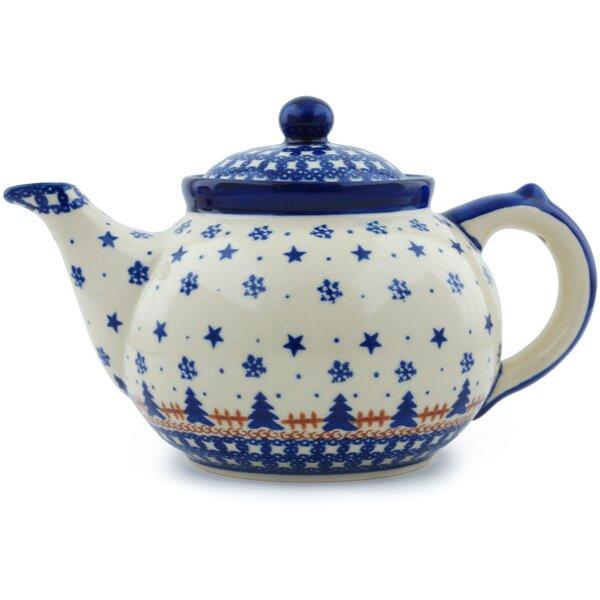 Winter Snow 1.6 Qt. Polish Pottery Teapot by Polmedia