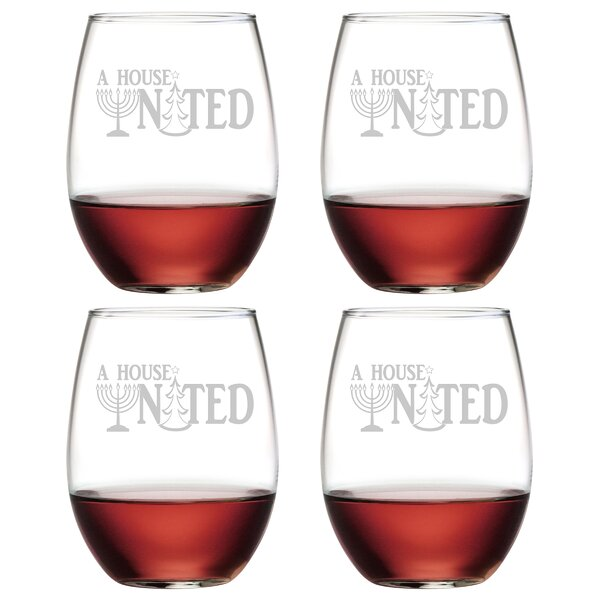 A House United Glass 21 oz. All Purpose Stemless Wine Glass (Set of 4) by The Holiday Aisle
