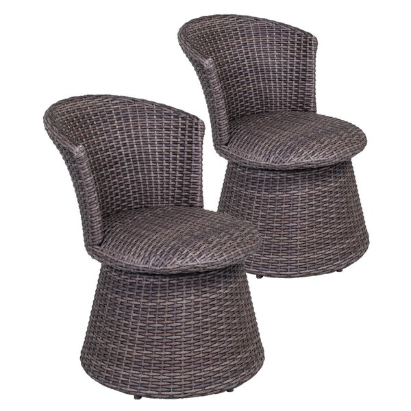 Wicker Swivel Stool Chair Indoor Outdoor Rattan Chair Patio Furniture, Set Of 2 (Set of 2) by Bay Isle Home Bay Isle Home