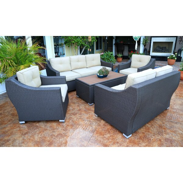 Hasan 5 Piece Rattan Sofa Seating Group with Cushions by Brayden Studio