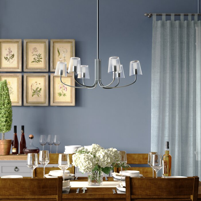 Nicole 6 Light Led Shaded Clic Traditional Chandelier