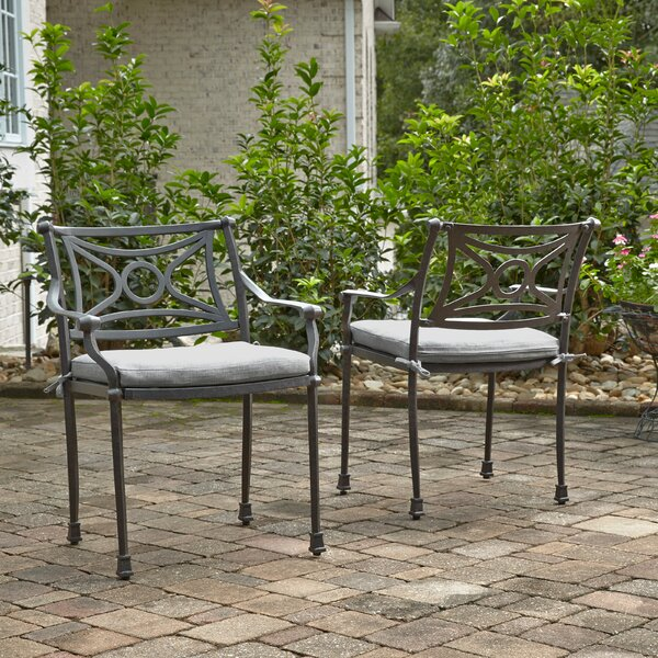 Flagg Cast Aluminum Patio Dining Chair with Cushion (Set of 2) by Darby Home Co