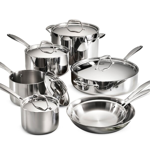 Gourmet 12 Piece Tri-Ply Clad Stainless Steel Cookware Set by Tramontina