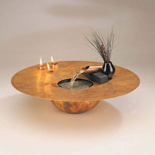 Copper Water and Fire Circular Tabletop Fountain by Nayer Kazemi