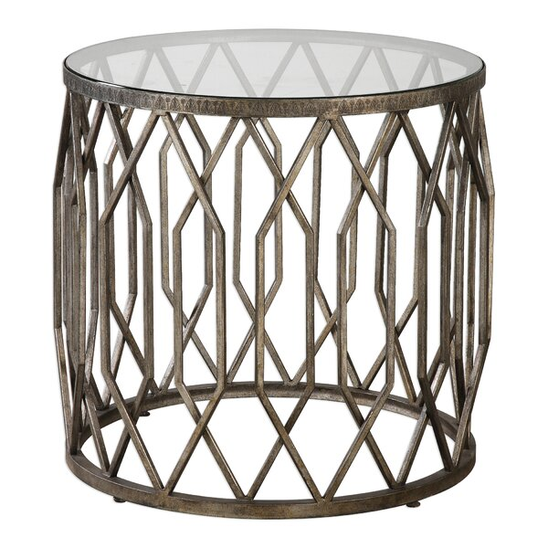 Mckinley Glass End Table by Bungalow Rose