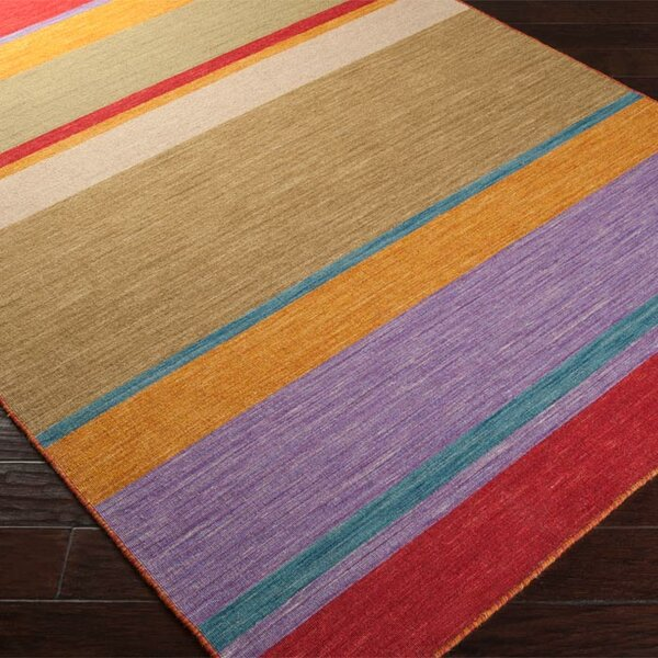 Carressa Red/Khaki Green Striped Area Rug by Zipcode Design