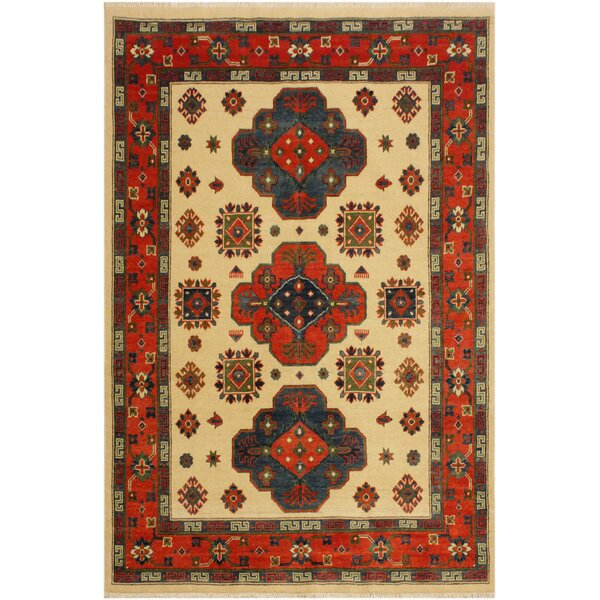 One-of-a-Kind Alina Kazak Hand-Knotted Wool Ivory/Red Area Rug by Astoria Grand