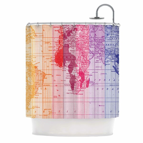 Rainbow World Map by Catherine Holcombe Travel Shower Curtain by East Urban Home