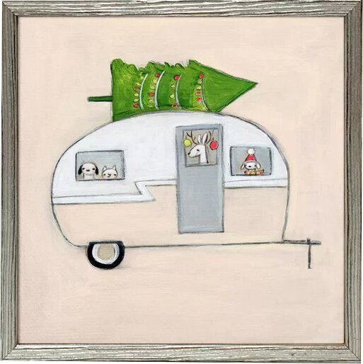 Jeannine Happy Camper Jeannine Mini Framed Canvas Art by Harriet Bee