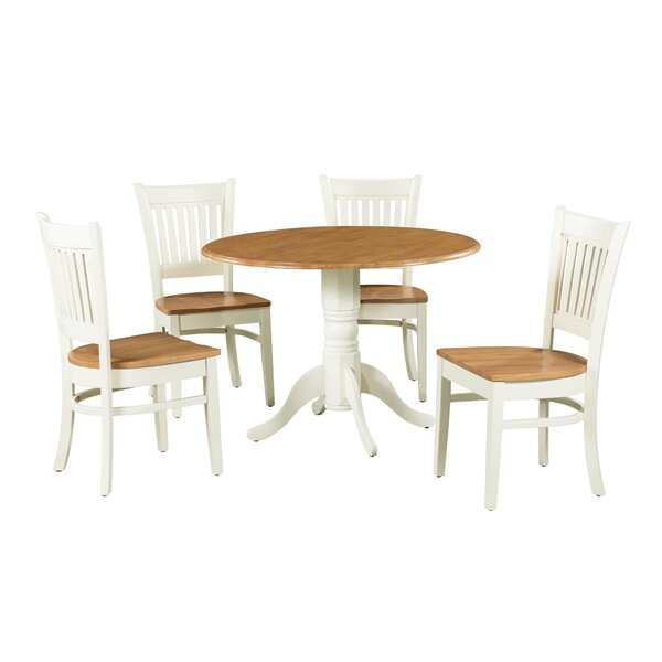 Tobias 5 Piece Drop Leaf Solid Wood Dining Set by August Grove August Grove