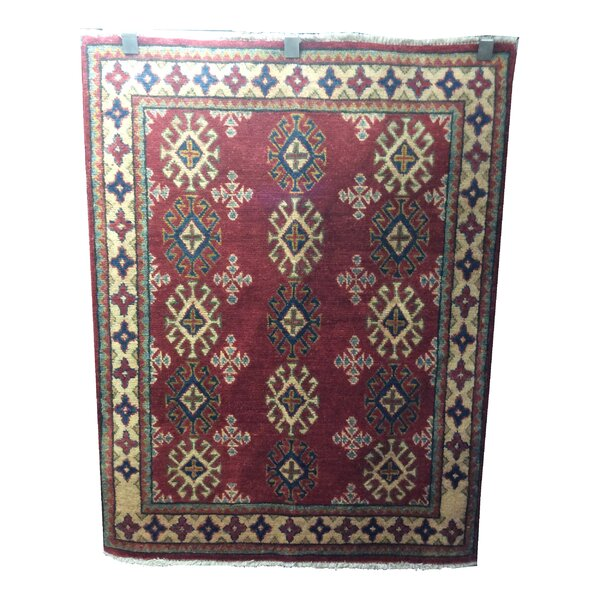 One-of-a-Kind Eramana Hand-Knotted Wool Red/Blue Area Rug by Bloomsbury Market