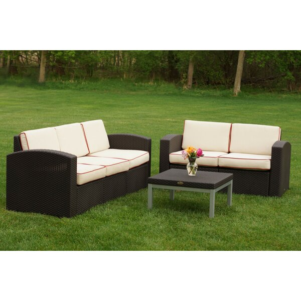 Ellie 3 Piece Rattan Sofa Set with Cushions by World Menagerie