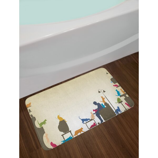 Colorful Artwork of an Human Being in Normal City Life Crazy Cat Lady Image Print Non-Slip Plush Bath Rug by East Urban Home