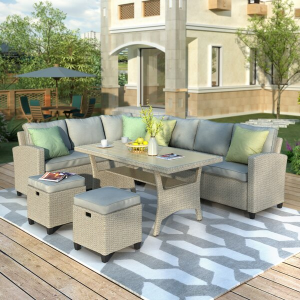 Ares Patio Sectional with Cushions by Rosecliff Heights Rosecliff Heights