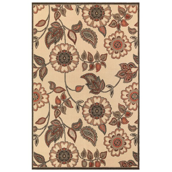 Shannen Floral Vine Cream Indoor/Outdoor Area Rug by Charlton Home