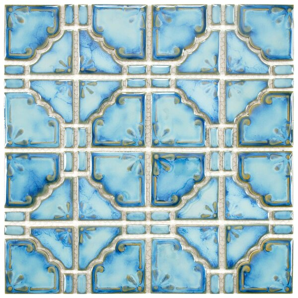 Moonlight 2.85 x 2.85 Porcelain Mosaic Tile in Diva Blue by EliteTile