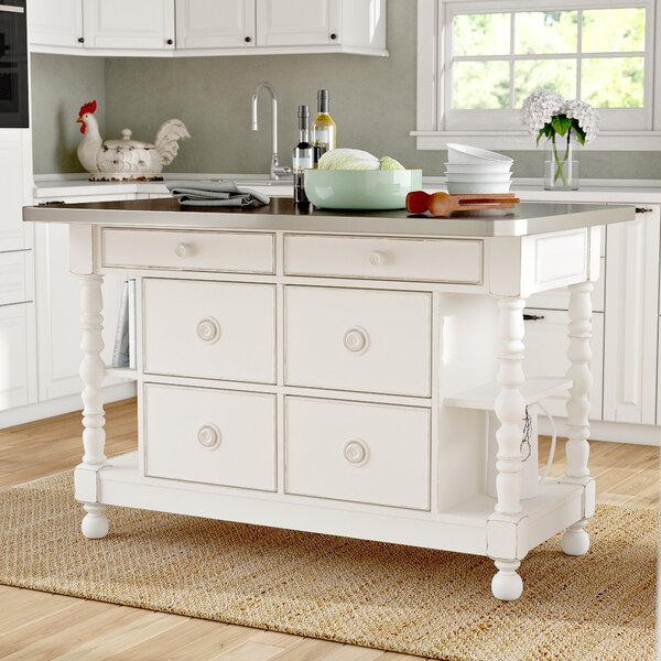 Tennille Kitchen Island with Stainless Steel Top by August Grove