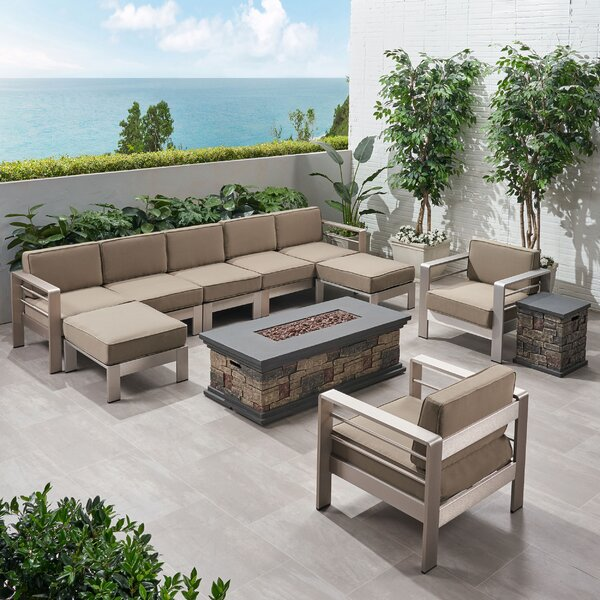 Diesel Outdoor Extended Chat 9 Piece Sectional Seating Group with Cushion by Loon Peak