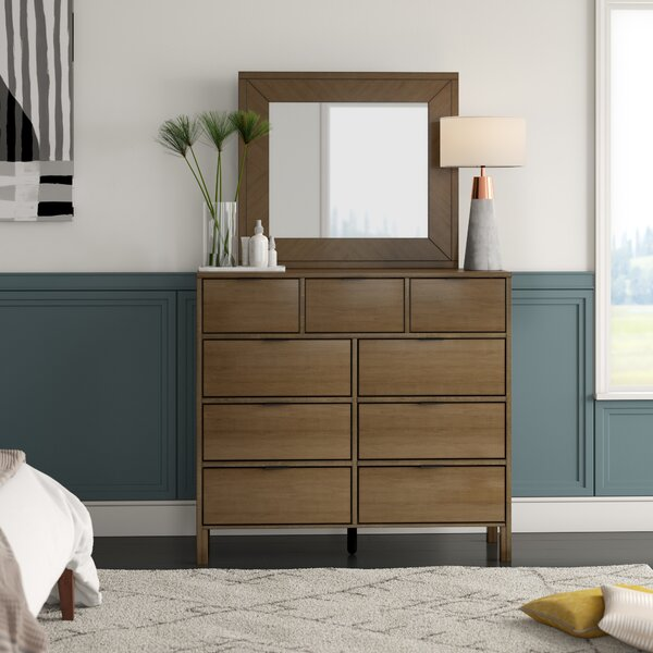 Hosier 9 Drawer Double Dresser with Mirror by Mercury Row