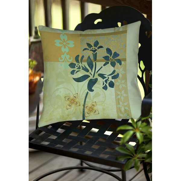 Collage Blossoms Patterned Indoor/Outdoor Throw Pillow by Manual Woodworkers & Weavers