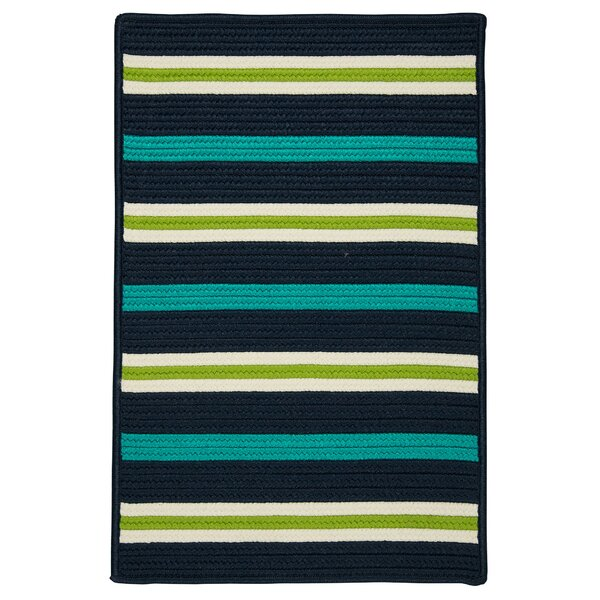 Painter Stripe Navy Waves Indoor/Outdoor Area Rug by Colonial Mills