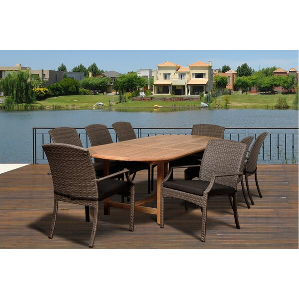 Bridgepointe 9 Piece Teak Dining Set with Cushions by Rosecliff Heights