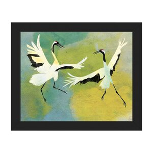 'Dancing Cranes on Teal' Framed Print of Painting by Click Wall Art