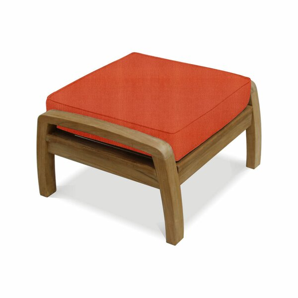 Ortega Deep Seating Outdoor Teak Ottoman with Cushion by Rosecliff Heights