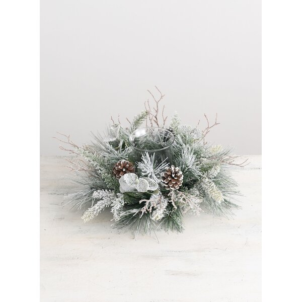 Frosted Pine and Foliage Glass Candle Ring by The Holiday Aisle