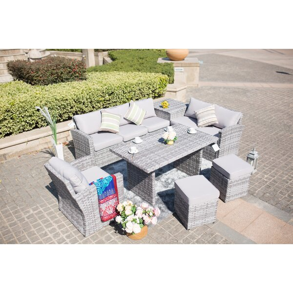 Lynch Outdoor 7 Piece Lounge Dining with Cushions by Rosecliff Heights