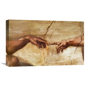 'Creation of Adam (detail)' by Michelangelo Painting Print on Wrapped Canvas by Global Gallery