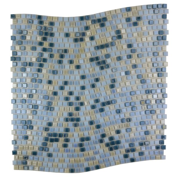 Galaxy Wavy 0.31 x 0.31 Glass Mosaic Tile in Glazed Blue and Beige by Abolos