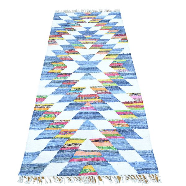 Flat Weave Kilim Hand-Knotted White/Light Blue Area Rug by Bungalow Rose