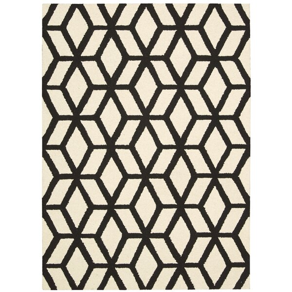 Nohemi Hand-Knotted Ivory/Black Area Rug by Ivy Bronx